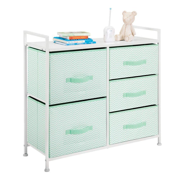 mDesign Wide Dresser Storage Tower Furniture - Metal Frame, Wood Top, Easy Pull Fabric Bins - Organizer for Kid's Bedroom, Hallway, Entryway, Closet, Dorm - Chevron Print, 5 Drawers - Mint Green/White