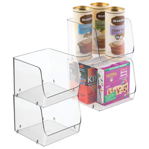 "mDesign Large Household Stackable Plastic Food Storage Organizer Bin Basket with Wide Open Front for Kitchen Cabinets, Pantry, Offices, Closets, Bedrooms, Bathrooms - Cube - 7.75"" Wide, 4 Pack - Clear"