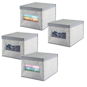 mDesign Soft Fabric Stackable Closet Storage Organizer Holder Box Bin with Clear Window, Attached Hinged Lid - Bedroom, Hallway, Entryway, Closet, Bathroom - Textured Print, Large, 4 Pack - Gray
