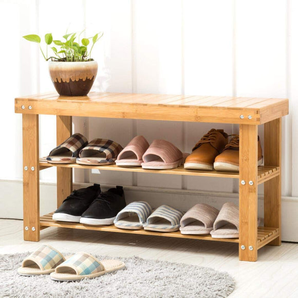 "Dporticus Bamboo Shoe Bench 2-Tier Boot Storage Racks Shelf Organizer Chair Seat for Entryway Hallway Living Room27.5""(L) X 11"" (W) X 17.7"" (H)"
