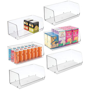 "mDesign Extra Large Household Stackable Plastic Food Storage Organizer Bin Basket with Wide Open Front for Kitchen Cabinets, Pantry, Offices, Closets, Bedrooms, Bathrooms - 15"" Wide, 6 Pack - Clear"