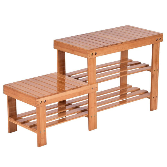 Costway 2-Tier Bamboo Shoe Bench Storage Racks Boot Organizer Double-Deck (Natural)
