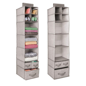 mDesign Soft Fabric Over Closet Rod Hanging Storage Organizer with 7 Shelves and 3 Removable Drawers for Clothes, Leggings, Lingerie, T Shirts - Textured Print with Solid Trim - 2 Pack - Linen/Tan