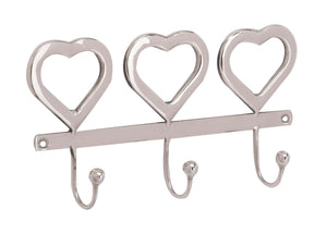 "Deco 79 90890 Stainless Steel Heart Wall Hook Rack, 5"" x 10"", Silver"