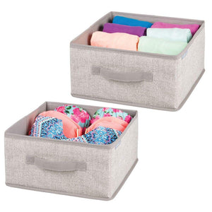 mDesign Soft Fabric Modular Closet Organizer Box with Handle for Cube Storage Units in Closet, Bedroom to Hold Clothing, T Shirts, Leggings, Accessories - Textured Print, 2 Pack - Linen/Tan