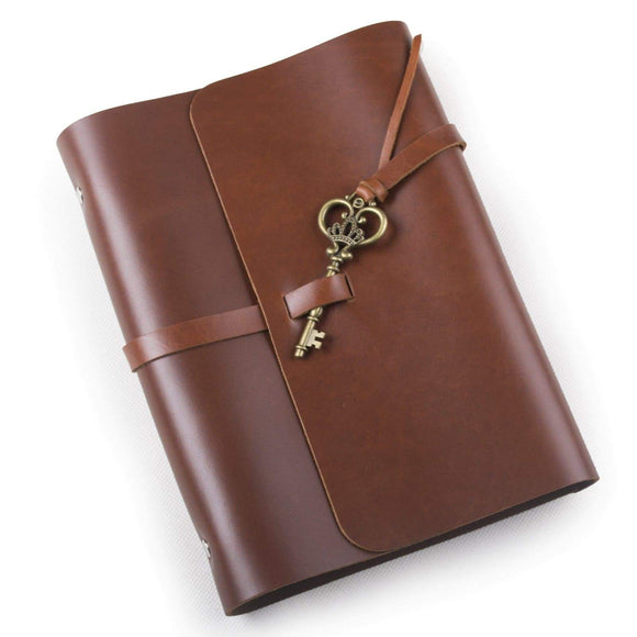 Shop retro genuine leather handmade diary travel journal notebook sketchbook with vintage key style buckle refillable with loose binder craft paper red brown a5 lined craft paper
