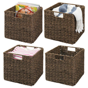 "mDesign Natural Woven Seagrass Closet Storage Organizer Basket Bin - Collapsible - for Cube Furniture Shelving in Closet, Bedroom, Bathroom, Entryway, Office - 10.5"" High, 4 Pack - Chestnut Brown"