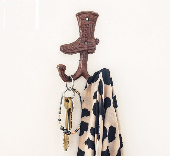 Cowboy Boot Double Wall Hook/Hanger | Decorative Wall Mounted Coat Hook | Rustic Cast Iron | 3.3x1.4x5