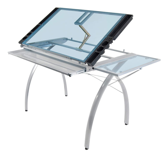 Organize with sd studio designs futura craft station w folding shelf top adjustable drafting table craft table drawing desk hobby table writing desk studio desk w drawers 35 5w x 23 75d silver blue glass
