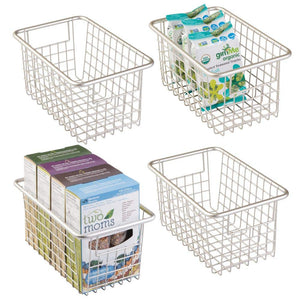 "mDesign Modern Farmhouse Deep Metal Wire Storage Organizer Bin Basket with Handles for Kitchen Cabinets, Pantry, Closets, Bedrooms, Bathrooms, Laundry Rooms, Garages - 5.25"" High, 4 Pack - Satin"