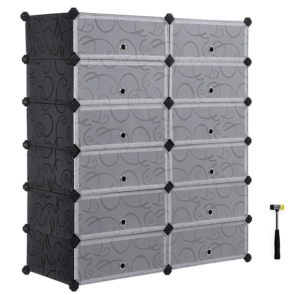 SONGMICS Shoe Rack, DIY Plastic Storage Organizer,Modular closet cabinet with Doors, Black ULPC26H