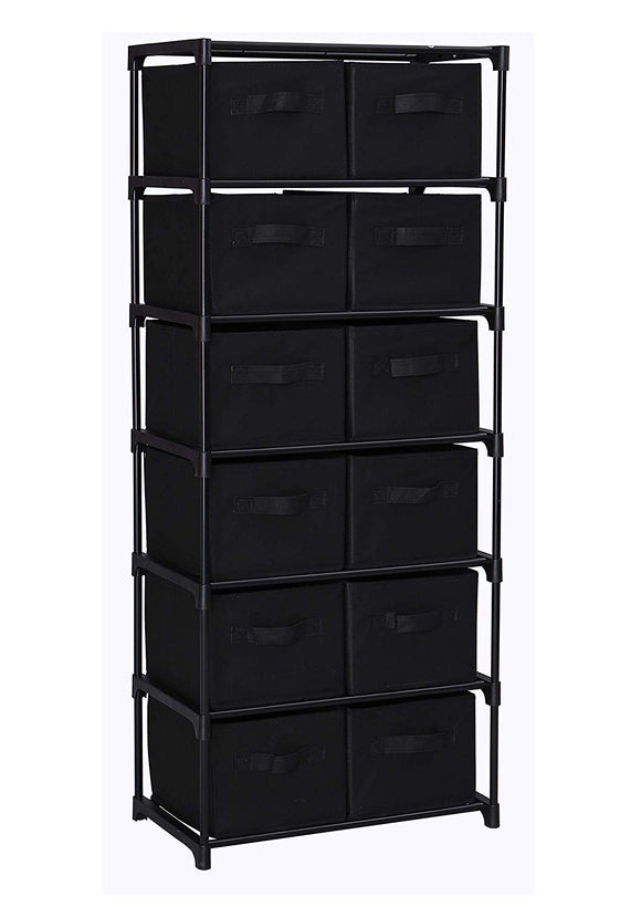 Homebi Drawers Storage Shelf Chest Unit Storage Cabinet Closet Organizer Rack Dresser Storage Towel with Non-Woven Fabric Bins (Black 12-Drawer)