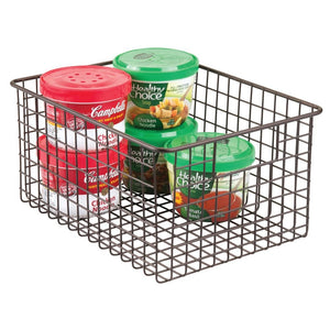 "mDesign Farmhouse Decor Metal Wire Food Storage Organizer Bin Basket with Handles - for Kitchen Cabinets, Pantry, Bathroom, Laundry Room, Closets, Garage - 12"" x 9"" x 6"" - Bronze"