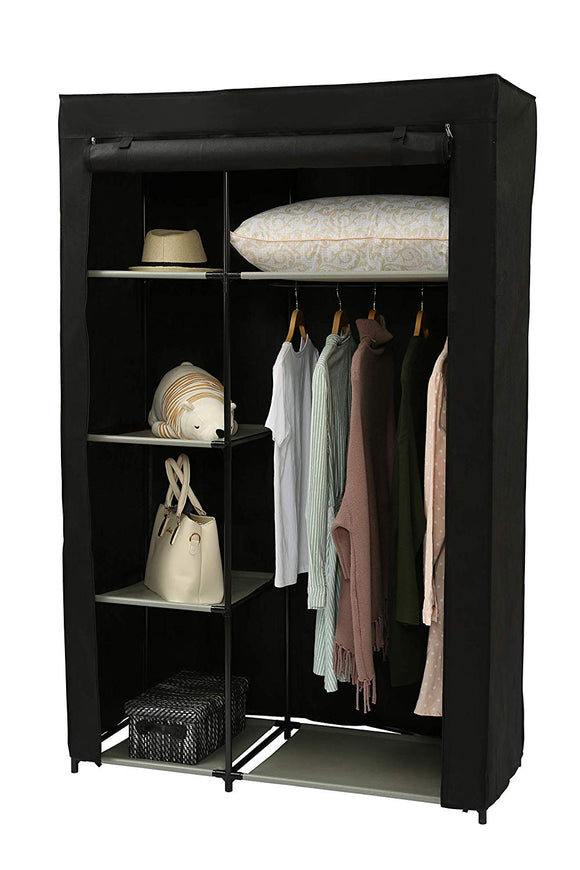 "Homebi Clothes Closet Portable Wardrobe Durable Clothes Storage Non-Woven Fabric Wardrobe Storage Organizer with Hanging Rod and 6 Shelves,41.73""W x 17.72"" D x 65.35""H (Black)"