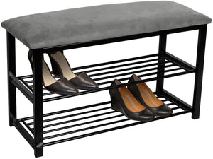 Sorbus Shoe Rack Bench – Shoes Racks Organizer – Perfect Bench Seat Storage for Hallway Entryway, Mudroom, Closet, Bedroom, etc (Gray)
