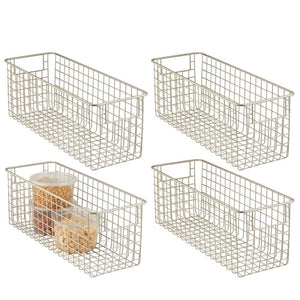 "mDesign Farmhouse Decor Metal Wire Food Storage Organizer Bin Basket with Handles for Kitchen Cabinets, Pantry, Bathroom, Laundry Room, Closets, Garage - 16"" x 6"" x 6"" - 4 Pack - Satin"