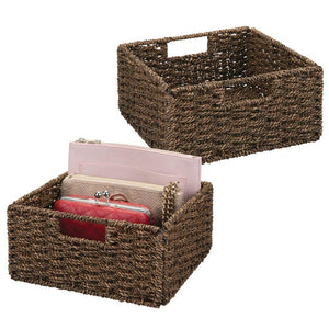 "mDesign Natural Woven Seagrass Closet Storage Organizer Basket Bin - Collapsible - for Cube Furniture Shelving in Closet, Bedroom, Bathroom, Entryway, Office - 5.25"" High, 2 Pack - Chestnut Brown"