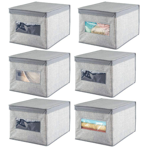 mDesign Soft Fabric Stackable Closet Storage Organizer Holder Box Bin with Clear Window, Attached Hinged Lid - Bedroom, Hallway, Entryway, Closet, Bathroom - Textured Print, Large, 2 Pack - Gray