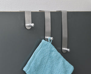 EVIDECO Brushed Stainless Steel Over The Door Hooks Hanger-3 sizes- Set of 3-Chrome