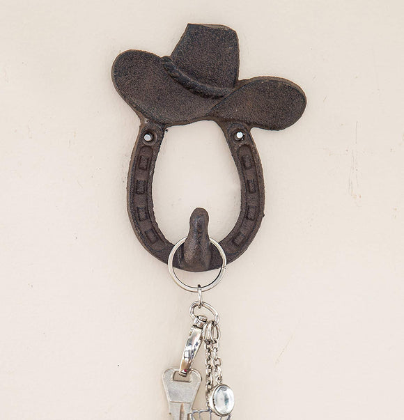 Cast Iron Cowboy Hat and Horse Shoe Single Wall Hook/Hanger | Decorative Wall Mounted Coat Hook | Rustic Cast Iron | 3.9x1.2