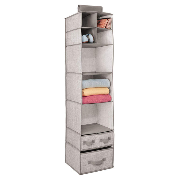 mDesign Soft Fabric Over Closet Rod Hanging Storage Organizer with 7 Shelves and 3 Removable Drawers for Clothes, Leggings, Lingerie, T Shirts - Textured Print with Solid Trim - Linen/Tan