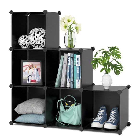 Homfa Cube Storage Organizer, 6 Cubes Shoe Rack, DIY Plastic Modular Closet Cabinet Storage Organizer, Living Room Office Bookcases Shelves for Books, Cloths, Toys, Shoes, Arts, Black