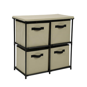 Homebi Drawers Storage Shelf Chest Unit Storage Cabinet Closet Organizer Rack Dresser Storage Towel with Non-Woven Fabric Bins (Beige 4-Drawer)