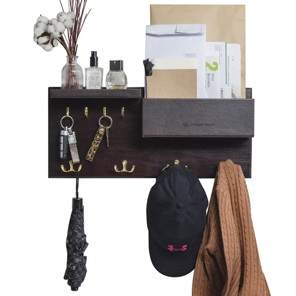 JackCubeDesign Entryway Coat Rack Wall Mount Key Holder Mail Envelope Hook Organizer Clothes Hat Hanger with Leather Shelf and Tray(Solid Wood, 20.5 x 9.1 x 3.4 inches) – :MK362A