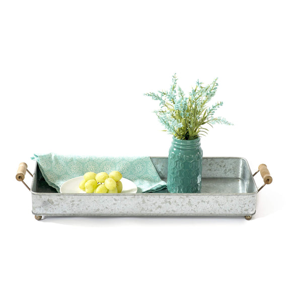 GRILA Rustic Metal Serving Tray -Wooden Handles Cute Ball feet Table Decor Serving Coffee Coco Home Dining centerpieces Office Desk Organizer Country Farmhouse Kitchen Decorative Functional Well Made