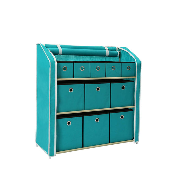 Homebi Multi-Bin Storage Shelf 11 Drawers Storage Chest Linen Organizer Closet Cabinet with Zipper Covered Foldable Fabric Bins and Sturdy Metal Shelf Frame in Turquoise,31