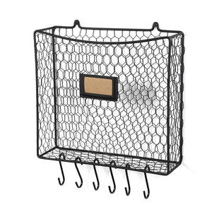 Wall35 Cestino Wall Mounted Multipurpose Mail Organizer - Chicken Wire Basket with S Hooks - Magazine Holder Coat Rack Foyer Storage with Key Hooks for Kitchen Entryway and Garage Black