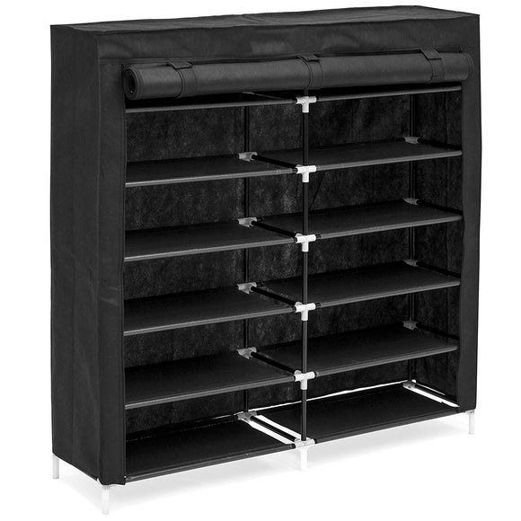 Best Choice Products 6-Tier 36-Shoe Portable Home Shoe Storage Closet Rack w/Fabric Cover, Black