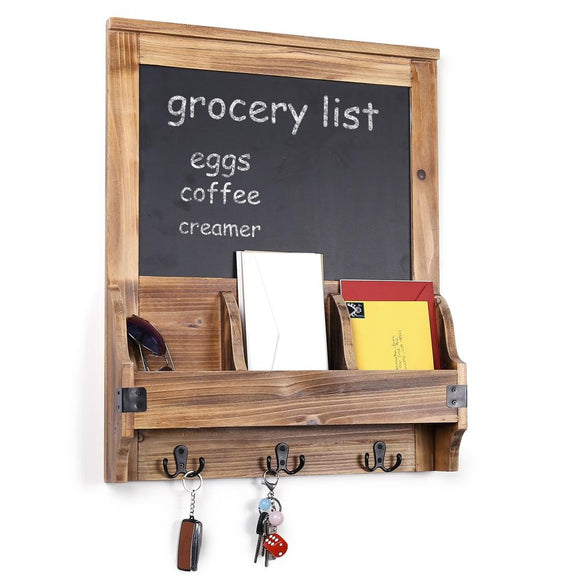Burnt Wood Wall-Mounted Entryway Organizer with Chalkboard Sign & Key Hooks