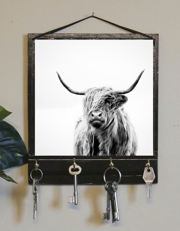 Highland Cow Print Key Rack Holder