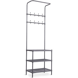 3 Tier Metal Storage Shelf 16 Hooks Hat Shoes Rack