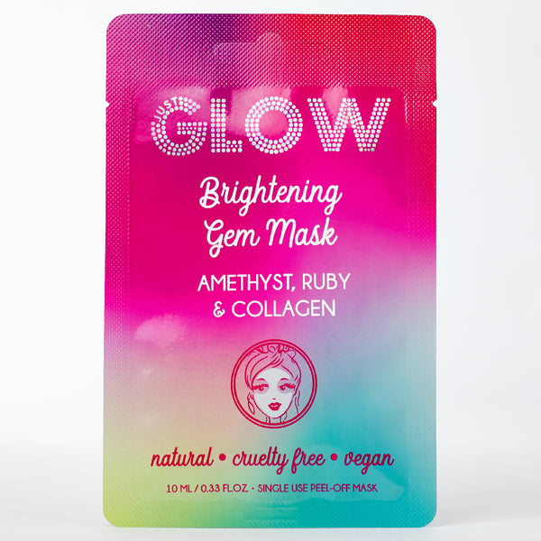 Just Glow, Brightening Gem Mask, Amethyst, Ruby, Collagen, Peel-Off Mask