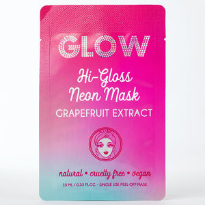 Just Glow, Hi-Gloss Neon Mask, Grapefruit Extract, Peel-Off Mask