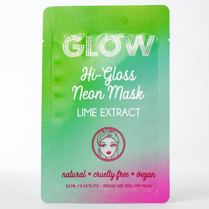 Just Glow, Hi-Gloss Neon Mask, Lime Extract, Peel-Off Mask