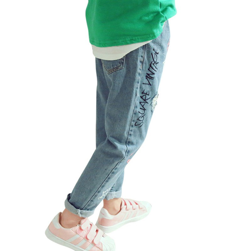 Kids Hole Jeans Autumn Denim Trousers