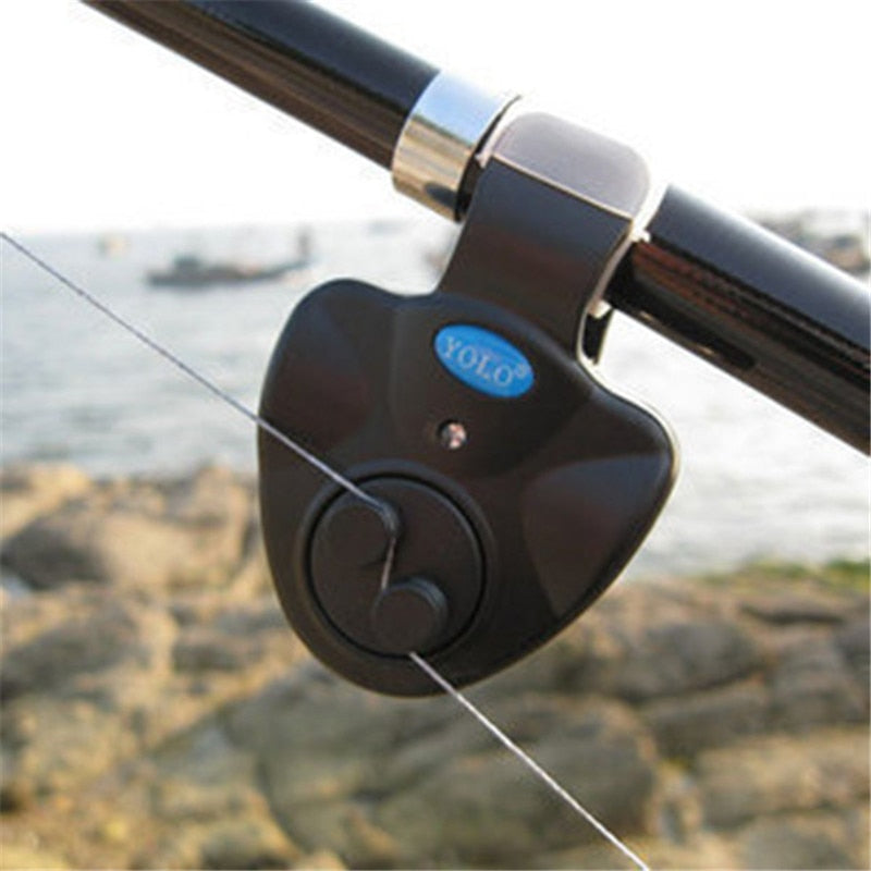 Outdoor Fishing Tools Black Electronic LED Light Fish Bite Sound-light Alarm Bell Clip On Fishing Rod