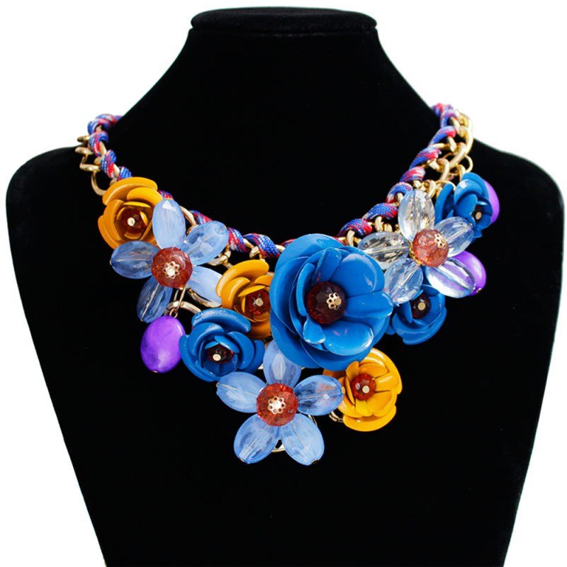Exotic Necklace Flower Gem Pendant Necklace