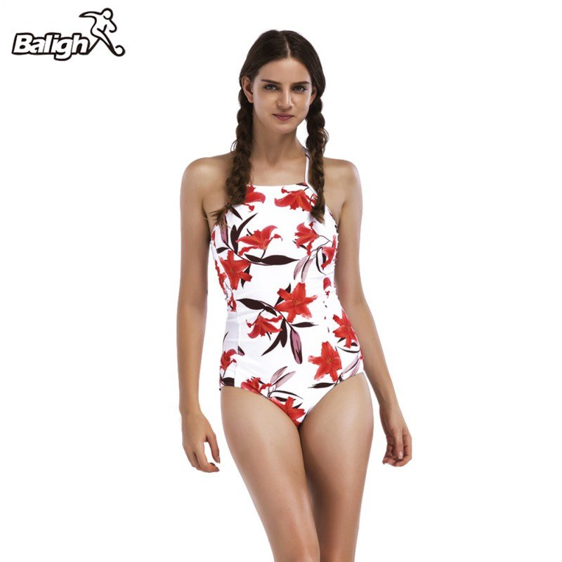 Women's Printed Athletic One Piece Swimsuit
