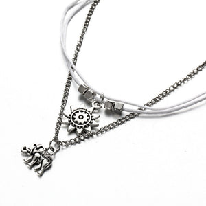 Elephant Sun Three Layers Retro Pendant Anklet