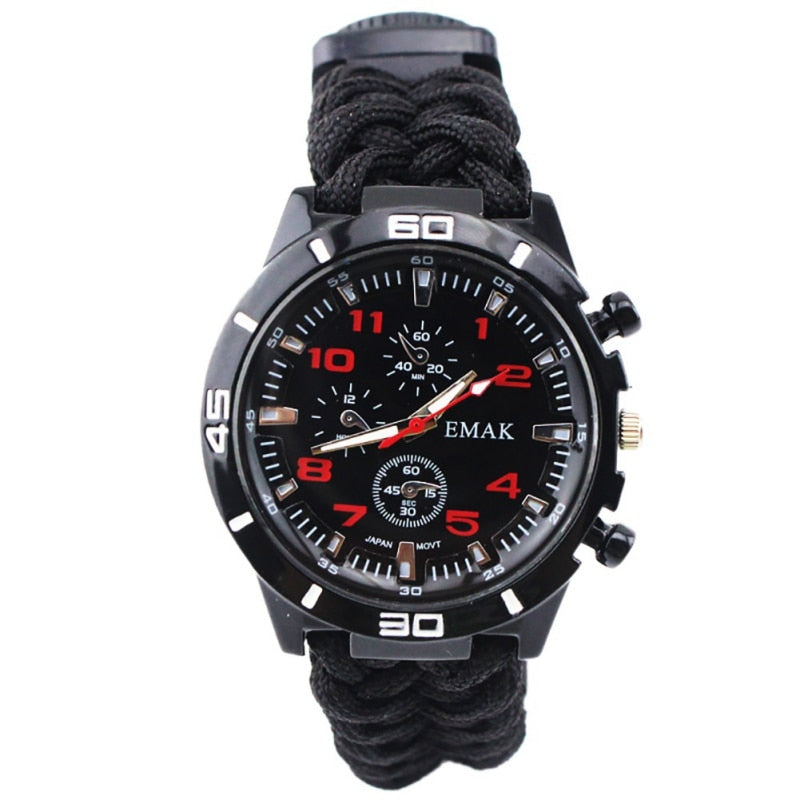 Adult  Multi Functional Braided Survival Compass Thermometer   Wristwatch