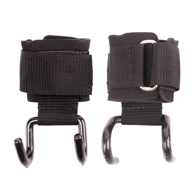 1 pair Adjustable Strong Steel Hook Grips Straps  Strength Training Gym Fitness Black Wrist useful Support