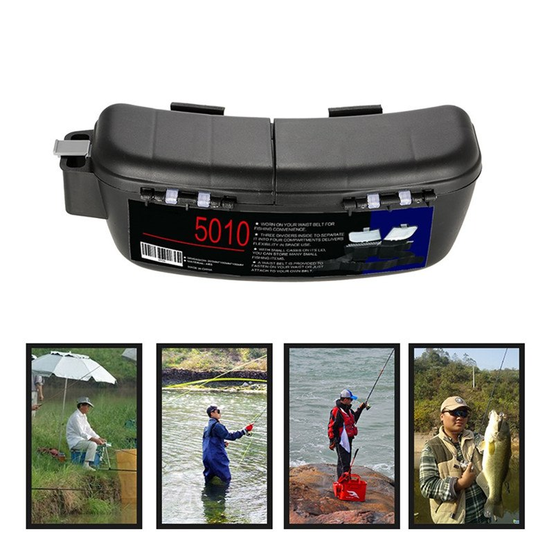 Portable Fishing Box Fishing Bait Tackle Box Storage Box Waist Carrier Lure Reel Holder Container