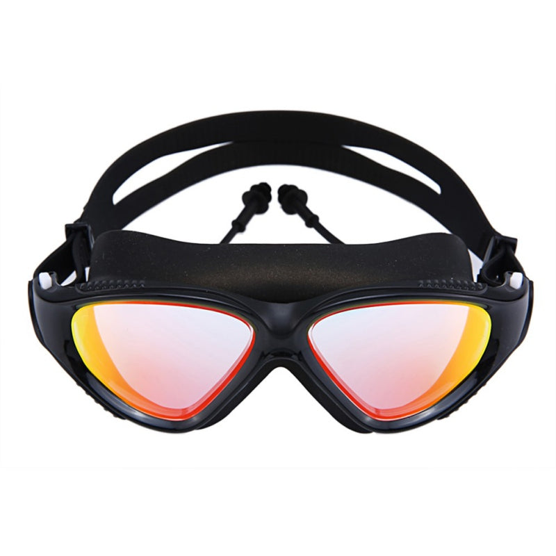 1PC New Adult  Men and women HD Anti-fog Waterproof Colorful Connected Earbud goggles Large frame Swimming Glasses Flat goggles