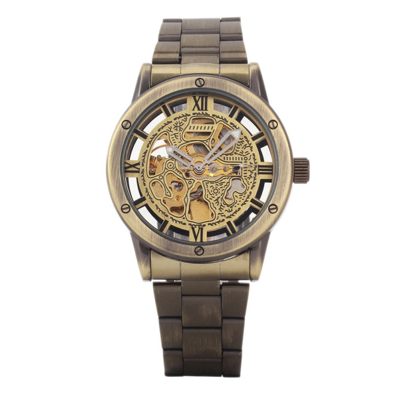 Bronze Antique Leather  Steampunk Skeleton Power Mechanical Watch