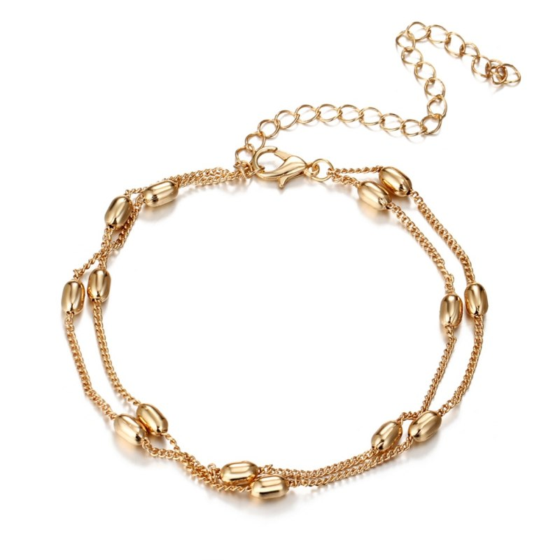 Women Double Beads Bracelet Fashion Simple Gold Color Pendant Jewelry