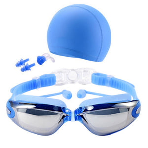 Professional Swim Glasses with Swim Caps Earplugs Nose Clip Set